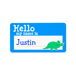 Green Triceratops Hello My Name is Badge Blue Label