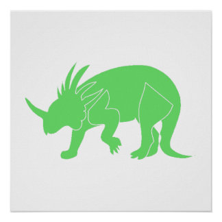 Green Triceratops Poster