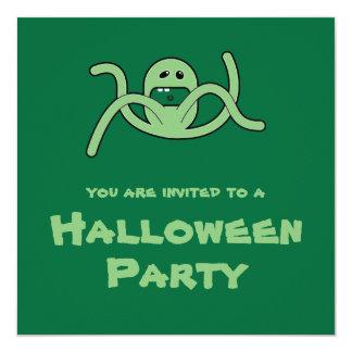 "Green Trickster 4 Weirdo Bunch Halloween Invite 5.25"" Square Invitation Card"