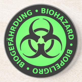 Green Trilingual Biohazard Warning Drink Coasters