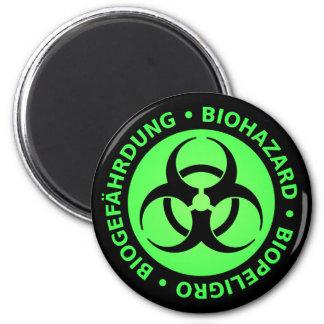 Green Trilingual Biohazard Warning Magnet
