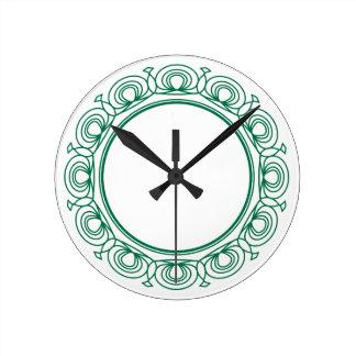 Green Trim Round Clock