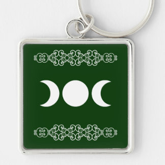 Green Triple Goddess Silver-Colored Square Keychain