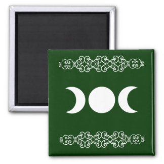 Green Triple Goddess 2 Inch Square Magnet