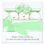 Green Triplet Baby Shower Invitation Announcement
