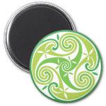 Green triskel 2 inch round magnet