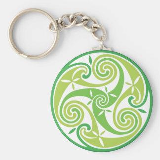 Green triskel keychain