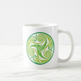 Green triskel coffee mug
