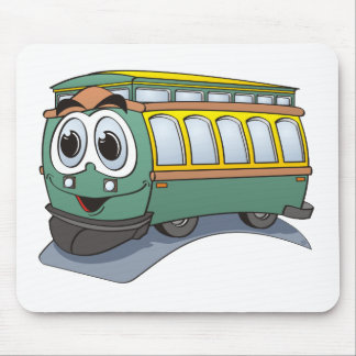 Green Trolley Cartoon Mouse Pad