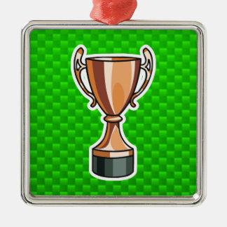 Green Trophy Metal Ornament