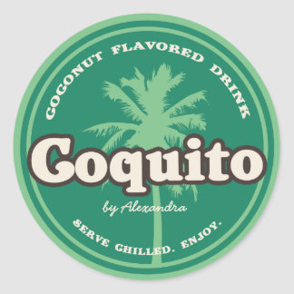 Green Tropical Coquito Classic Round Sticker