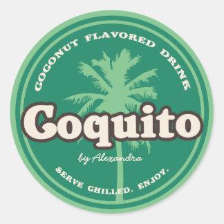 Green Tropical Coquito Classic Round Sticker