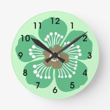 Beach Themed Green Tropical Flower Wall Clcok Round Clock
