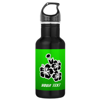 Green Tropical Flowers 18oz Water Bottle