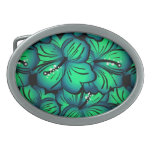 Green Tropical Hibiscus Flower design Oval Belt Buckle