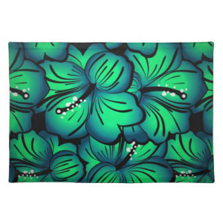 Green Tropical Hibiscus Flower design Cloth Placemat