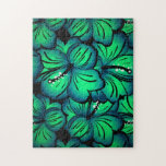 Green Tropical Hibiscus Flower design Puzzle