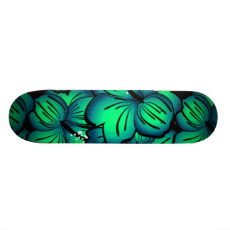 Green Tropical Hibiscus Flower design Skate Deck