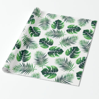 Green Tropical Island Palm Fronds and Jungle Leaf Wrapping Paper