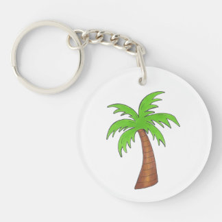 Green Tropical Island Palm Tree Keychain