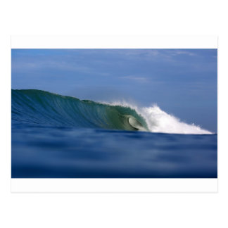 Green tropical island surfing wave post cards