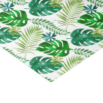 Green tropical leaf pattern party tissue tissue paper