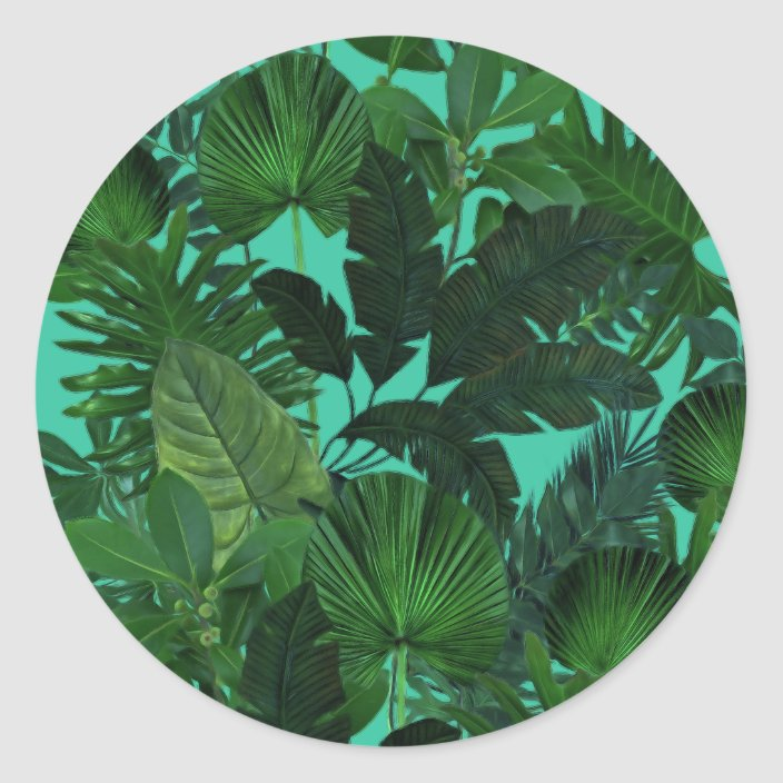Green Tropical Leaf Pattern Stickers Zazzle Com