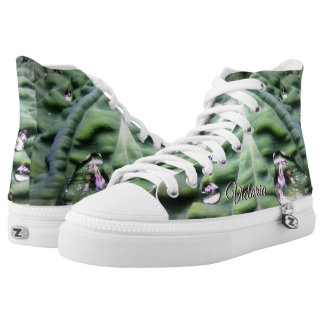 Green Tropical Leaf With Water Droplets High-Top Sneakers