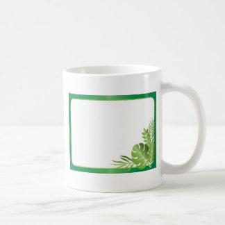 Green tropical leaves blank template coffee mug