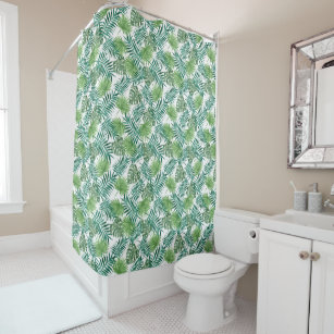 Green Tropical Leaves Botanical Shower Curtain