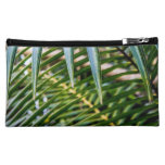 Green Tropical Leaves Cosmetic Bags