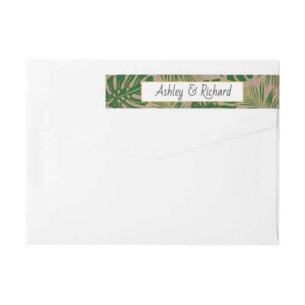 Green tropical leaves kraft paper rustic wedding wrap around label
