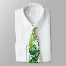 Green tropical leaves neck tie