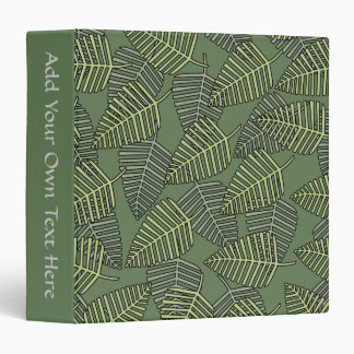 Green Tropical Leaves on Dark Green. Binder