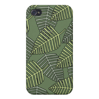 Green Tropical Leaves on Dark Green. Covers For iPhone 4