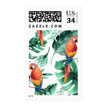 Green Tropical Leaves & Parrots Summer Party Postage
