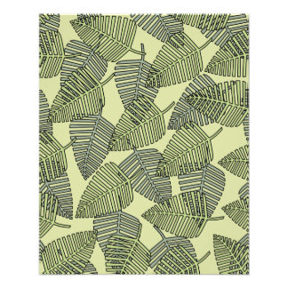 """Green Tropical Leaves Pattern. 4.5"""" X 5.6"""" Flyer"""