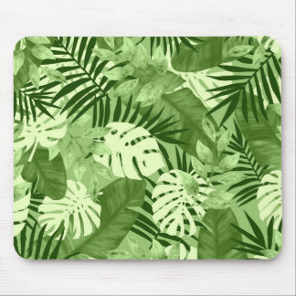 Green Tropical Leaves Pattern Mouse Pad