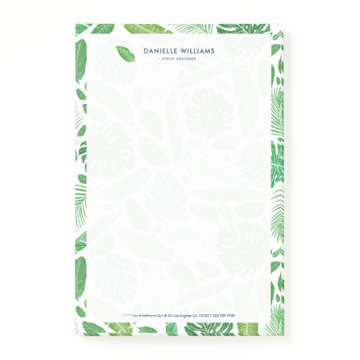 Green tropical leaves pattern post-it notes