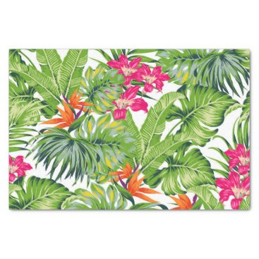 Hawaiian Themed Green Tropical Leaves Pink Orange  Flowers Tissue Paper