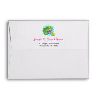 Green Tropical Lizard with Flowers Envelope