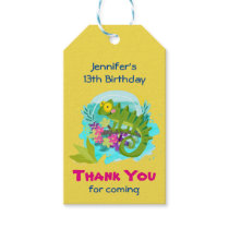 Green Tropical Lizard with Flowers Thank You Gift Tags
