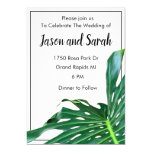 Green tropical palm leaf invitation