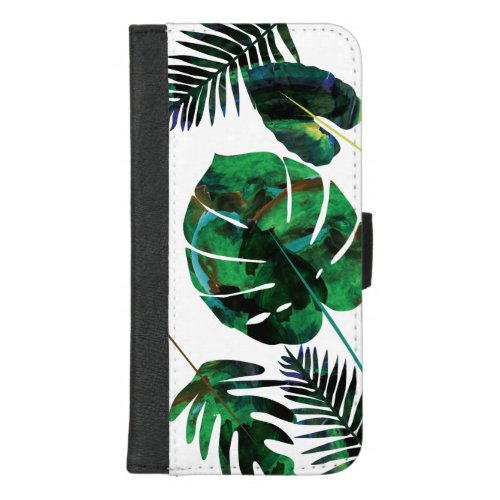 Green Tropical Palm Leaves iPhone Wallet Phone Case
