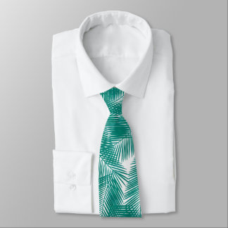 Green Tropical Palm Leaves Pattern Neck Tie