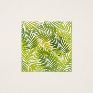Green tropical palm leaves pattern square business card