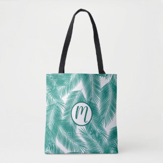 Green Tropical Palm Leaves Pattern Tote Bag