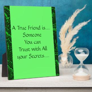 Green True Friend Secrets Friendship Plaque
