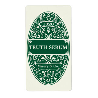 Green truth serum Halloween potion label