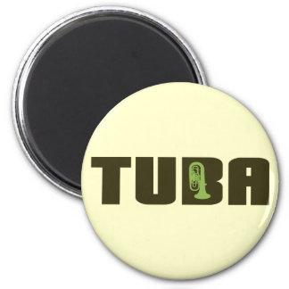 Green Tuba Button 2 Inch Round Magnet